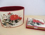 NEW VINTAGE - Stylecraft of Baltimore Asian Style Mail Desk Basket and Matching Memo Box