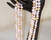 RESERVED FOR CS: Statement Pearls Ashira Long Pearls - 58 7-9mm Multi-Color Baroque Freshwater Pearl Necklace Long Necklace - Pink, Yellow