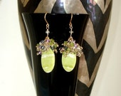 ONE-OF-A-Kind Sale: Ashira Statement Earrings Elegance -  Ashira Green Serpentine with Clusters of Navy Iolite, Pink Amethyst, Lemon Quartz,