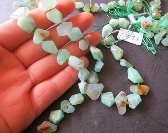 As Pictured- Mint Green Chrysoprase Nugget Beads 6x7x11mm 7x10x15mm - 36pcs