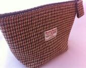 mans Harris tweed wash bag sponge bag Woman gift Scottish tartan groomsmen usher  wedding make up