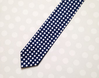 Boys Ties - Boys Tie - Kids Ties - Navy Tie - Boys Navy Gingham Plaid Tie