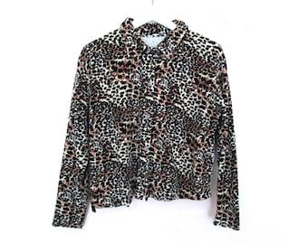 90's Velvet Plush Animal Shirt Coat size - M
