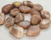 Full Strand Lovely Taupe Peach Suntone Smooth Freefrom Nugget Beads