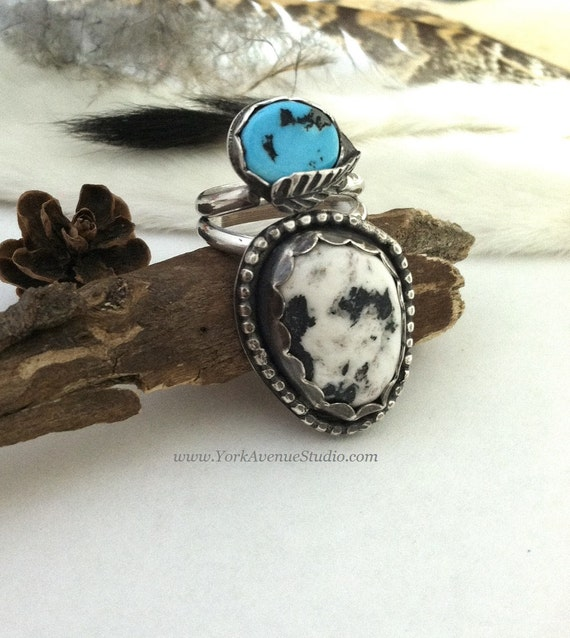 white buffalo turquoise ring band by yorkavenuestudio