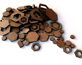 Hexagon Confetti - Miniature Chipboard embellishments for scrapbooking, card making, altered art, mixed media, tags, canvases and more.