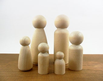 Wood Peg Doll Family Man Woman Boy (2) Girl Baby Unfinished Wood Peg Dolls Set of 6