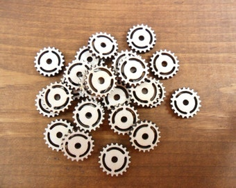 "25 Wood Gears Stud Earring Steampunk Jewelry Shapes 5/8"" (15mm) Circles Laser Cut Wood"