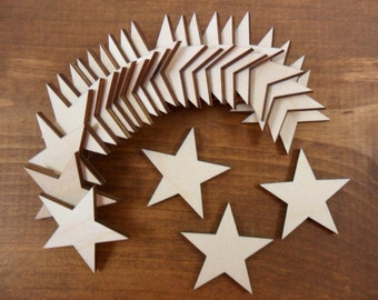 "Wood Stars 1 1/2"" Unfinished Laser Cut Wood Star Shapes Blanks - 25 Pieces"