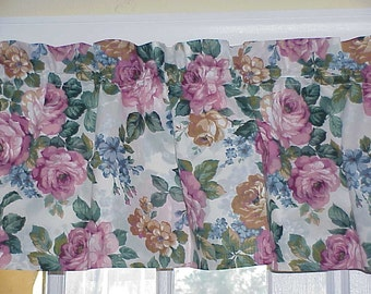 Free Shipping..Vintage Pink Roses Flowered Valance 70 wide
