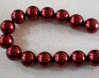 Large Maroon Acrylic Pearl Beads Strand