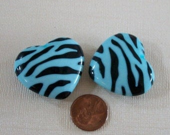 Two Large Turquoise Blue Zebra Striped Lucite Heart Beads