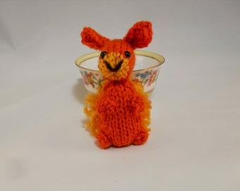 Hand Knit Bunny Plush Orange, Bunny Toy, Orange Bunny Stuffie, Knit Rabbit, Wool Bunny, Ready To Ship