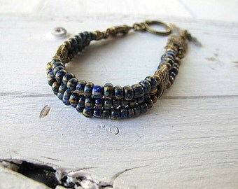 Seed Bead Bracelet Bohemian Wristband Czech Picasso Glass Navy Blue Antique Brass Tone Small Size Vintage Vibe Hippie Chic Boho