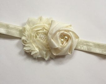 ivory chiffon rolled rose flower girl headband, flower girl ivory headband, girls headband, toddler headband