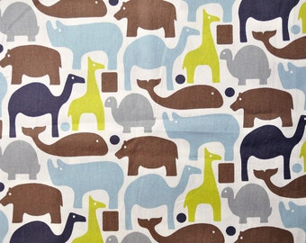 fabric  large animals grey, brown, olive, blue