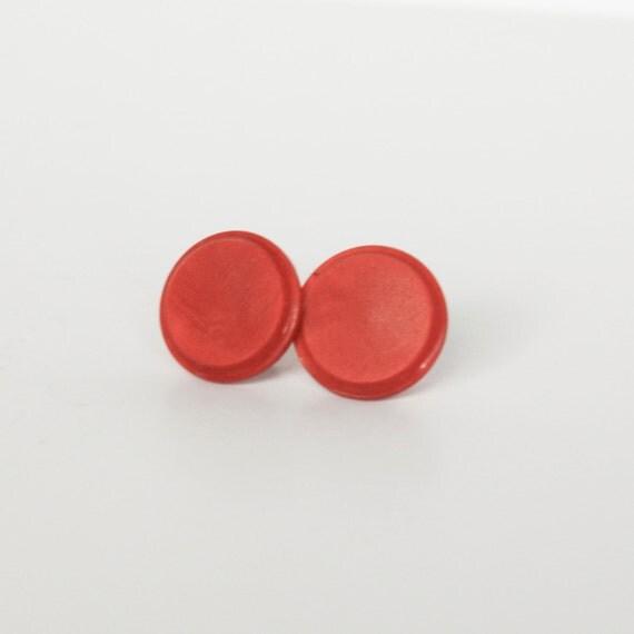 Vevey Burnt Tones Only: Burnt Orange Vintage Button Earrings By KleinDesignVintage