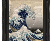 The Great Wave off Kanagawa vintage dictionary print - upcycled book page print - vintage art print - japanese home decor