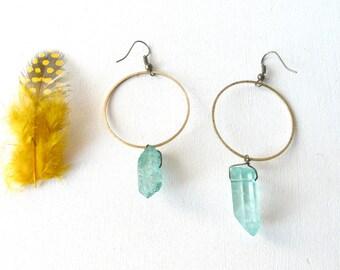 Water green transparent quartz earrings aura ( brass antiqued, round, hoop, pastel ) 01
