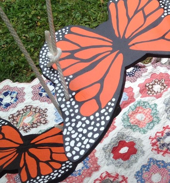 Swing Monarch Butterfly Swing Tree Swing Rope Swing Garden Art Yard Art