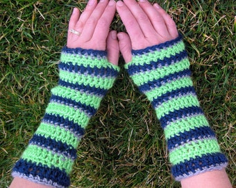 Go TEAM! extra soft striped gloves in Lime Green, Navy Blue, and Grey,