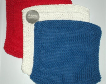 Hand Knit Cotton Wash Cloth set of 3 -Patriotic Solids