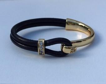 Gold and Crystal Half-cuff Bracelet