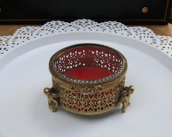 Filigree Jewelry Box With Cherubs - Jewelry Casket - Hollywood Glam - Oak Hill Vintage