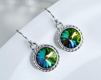 Rainbow Vitrail Swarovski Crystal Rivoli Earrings, Rainbow Earrings, Rainbow Crystal, Vitrail Earrings, Multicolor Vitrail Swarovski Crystal