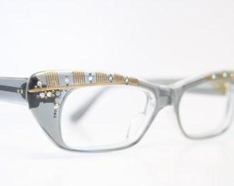 Unused Gray Rhinestone Cat Eye Glasses Cateye Frames Vintage Eyewear 1960s Eyeglasses New Old Stock