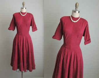 50's Day Dress // Vintage 1950's Textured Burgundy Rayon Full Casual Dress S