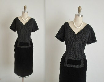 50's Lace Velvet Cocktail Dress //  Vintage 1950's Elegant Black Velvet Guipure Lace Fitted Cocktail Party Evening Dress L XL