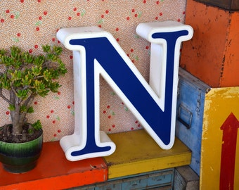 Vintage Marquee Sign Letter Capital 'N': Large Blue & White Wall Hanging Initial -- Industrial Neon Channel Advertising Salvage