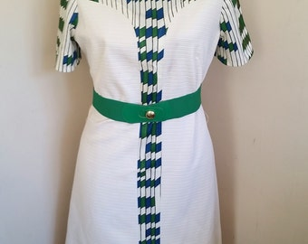 Vintage White Mod Scooter Dress Vintage Mod Dress Geometric