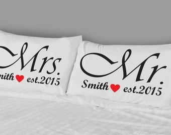 Mr and Mrs Pillow Cases personalized with last name and year established