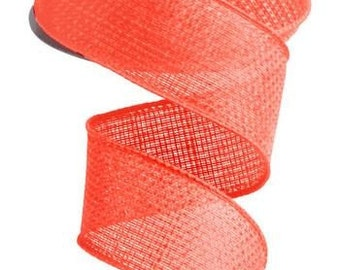 """1.5"""" Salmon Wired Cross Royal Burlap Ribbon RG521194,  5 Yards or 10 Yard Lengths Available"""