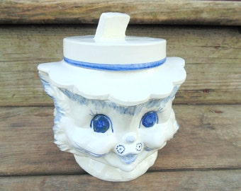 CAT COOKIE JAR. Cat Biscuit Jar. Cat Canister. Ceramic Cat. 1950s Ceramic Cat. Cat Gift Idea. Miss Priss. Cat Kitchen Decor