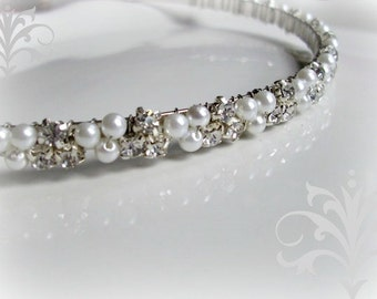 Wedding Headband. Pearl and Rhinestone Headband. Pearl Bridal Headband.