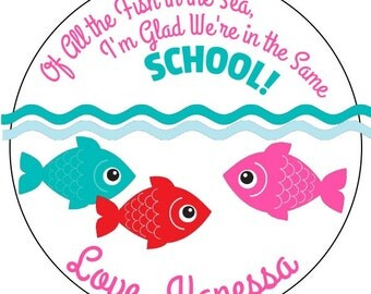valentine's fish stickers, personalized school valentines stickers, pink and blue valentines labels