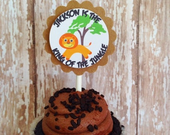 12 jungle birthday cupcake toppers, jungle animal toppers, custom jungle birthday toppers, boy birthday toppers