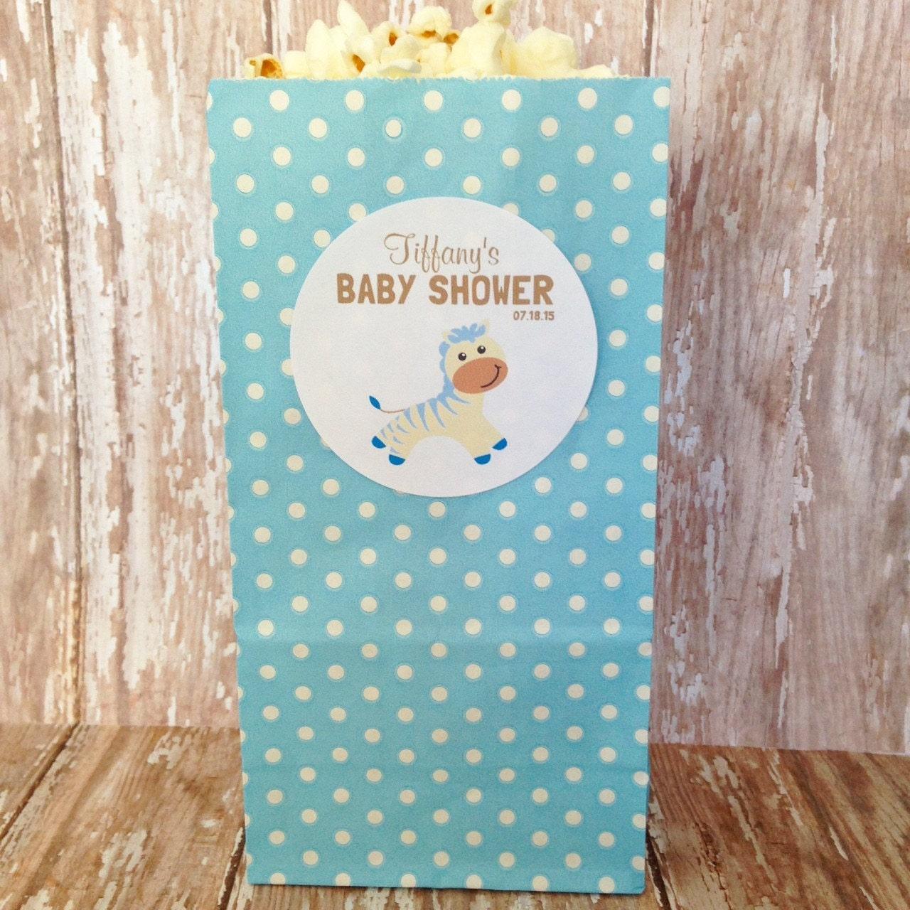 12 Blue Popcorn Bags Baby Shower Popcorn Sticker Bags Baby
