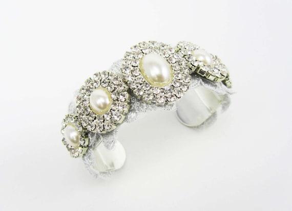 Pearl and Rhinestone Bridal Cuff Bracelet, Wedding Jewelry