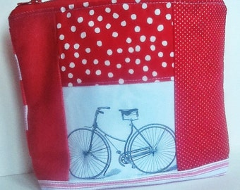 Zip Pouch, Bicycle Patchwork, Red and White