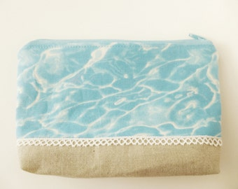 Cotton Zip Pouch, Sand and Surf, Beach
