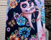 24x30 in Large Stretched Canvas Print - Day of the Dead Sugar Skull Calavera Girl - Gardenia Tattoo Art