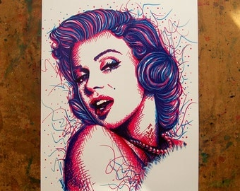 Marilyn Monroe Pop Art Print - 5x7, 8x10, or apprx 11x14 inches Colorful PopArt Electric Neon Home Decor