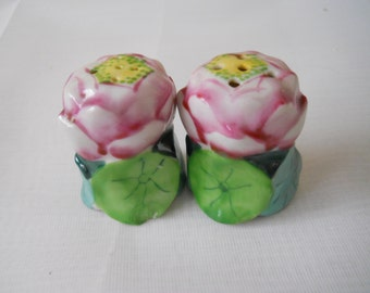 Rose Salt and Pepper Shakers - vintage, collectible, flowers, miniatures