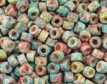 Ceramic Beads-4x6mm Tube-Candy Splash-Quantity 50
