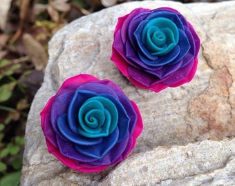"Ombre Rosebud Plugs - 4g to 2""- Gauges"