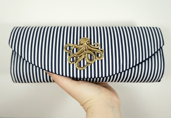 Nautical clutch, navy blue clutch bag with bronze, silver, or gold octopus, striped clutch, bridesmaid clutch, nautical wedding.